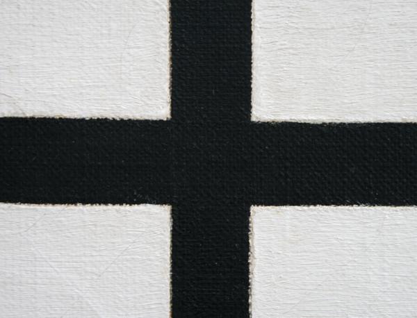 Marlow Moss - Compositie met dubbele lijn en blauw vlak (detail)