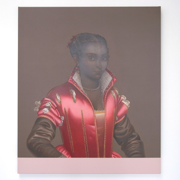 Mary A Waters - Dark Woman Pink Dress (Clear, Deep and Profound) - 140x120cm Olieverf op linnen