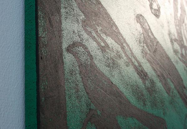 Matt Mullican - Untitld (Elements) - Vijf Wrijfafdrukken met olieverfstiften op linnen (detail)