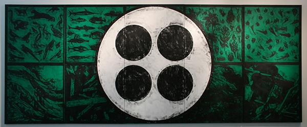Matt Mullican - Untitld (Elements) - Vijf Wrijfafdrukken met olieverfstiften op linnen