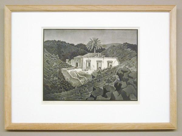 Maurits Cornelis Escher - Sicilie, huis in de lava - 32x45cm Litho, 1936, verworven in 1943 of 1944