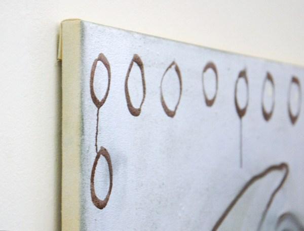 Micha Patiniott - The Curator - 75x90cm Gesso, spuitbus en olieverf op linnen (detail)