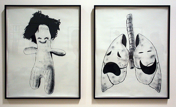 Mike Kelly - Figure II (Hair) & Comedy and Tragedy Lung - Acrylverf op papier