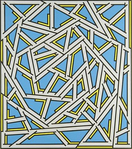 Nicholas Krushenick - Untitled - 70x64inch Acrylverf op linnen