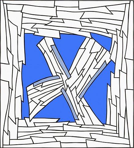 Nicholas Krushenick - Untitled - 72x65inch Acrylverf op linnen