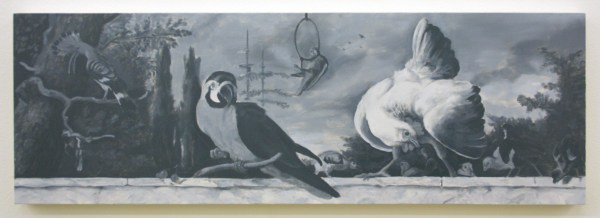 Niek Hendrix - Untitled (Birds On a Balustrade) - 31x92cm Olieverf op canvas op paneel