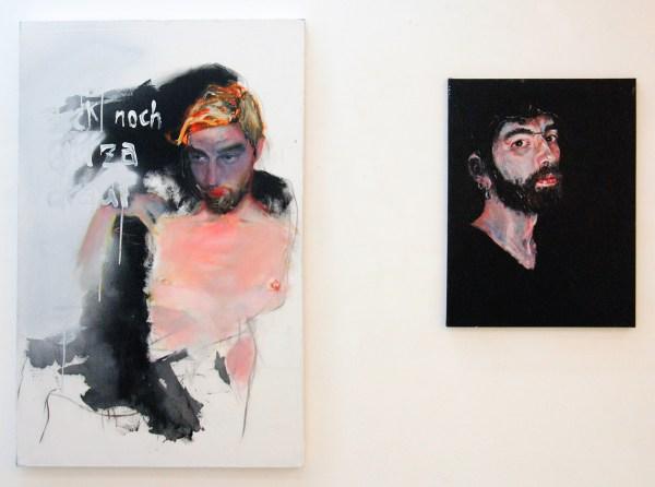 Nora Axnick - Pack noch Glitza drauf - 92x148cm Olieverf, acrylverf en chrome spuitbus op canvas & Untitled - 60x80cm Acrylverf op canvas