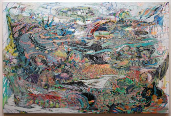 Omar Koubaa - Working with dark soil in a magnetic area 7 - 200x300cm Acrylverf op doek