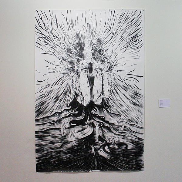 Omero Leyva - Gllero - 220x150cm Inkt op papier