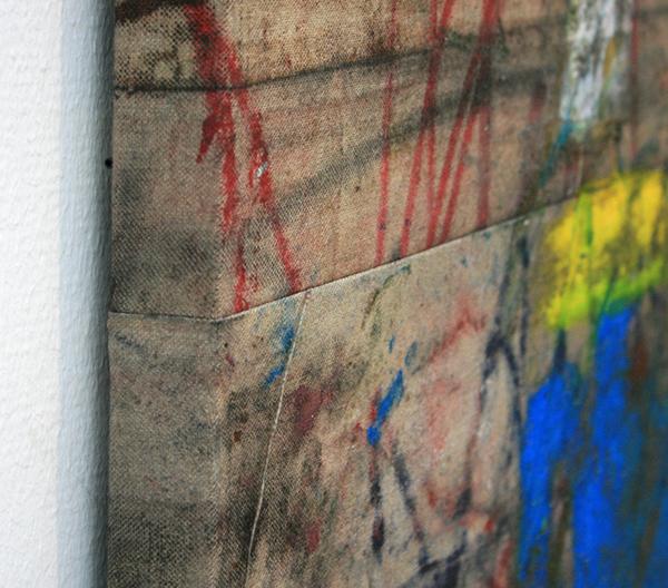 Oscar Murillo - 145 Minutes I Clocked In This Week - 265x215cm Vetkrijt en olieverf op doek (detail)