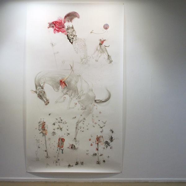 Peter Feiler - Kingdeath on Horsebak I - 268x151cm Potlood en kleurpotlood op papier