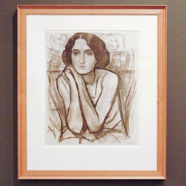 Piet Mondriaan - Vrouw met haar ellebogen leunend - Houtskool op papier 1908-1909 (Gebruikt voor Compositie XI)