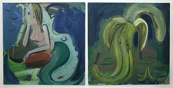 Pim Blokker - Oh My God, Mermaids & The Slippery Ones - 140x140cm & 140x140cm Olieverf op canvas