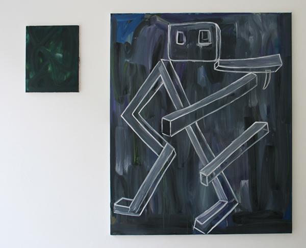 Pim Blokker - The Lazy Perspective - 40x50cm & Manmadegun - 140x160cm Olieverf op canvas