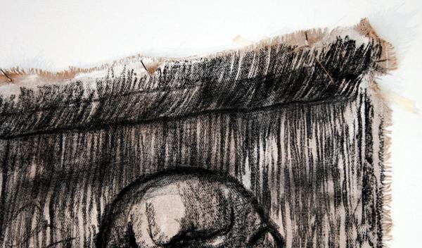 Raquel van Haver - No Title - 400x400 cm Houtskool op jutte(detail)