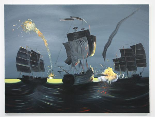Rens Krikhaar - The Battle of Formosa introducing Zheng Chengong - 120x160cm Olieverf op linnen
