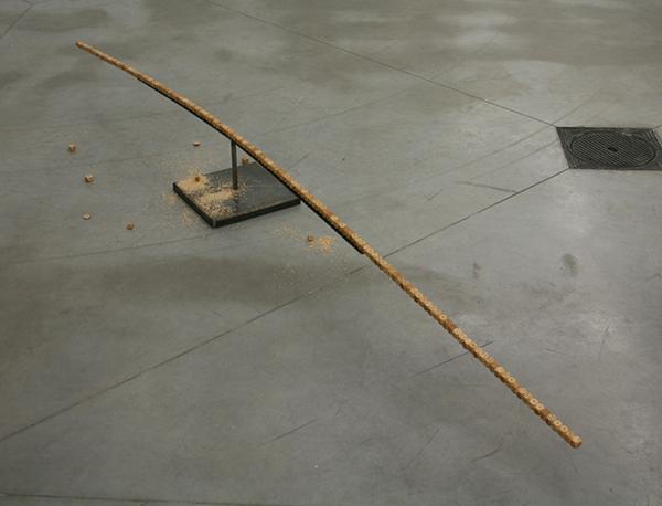 Ricardo Brey - Parallel Universe - 23x31x300cm Dobbelstenen, ijzer en zaagsel