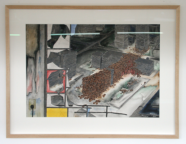 Rob Voerman - Traverse - 51x71cm Aquarel en potlood op papier