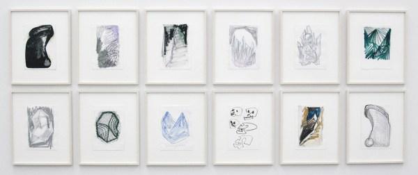Robert Zandvliet - Monoliet - Collage, gesso, eitempera, marker op papier, 12 van 12 bladen