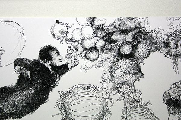 Rodirgo Suarez - Al Borde de un Grano de Arena - 46x200cm Mixed Media op papier (detail)
