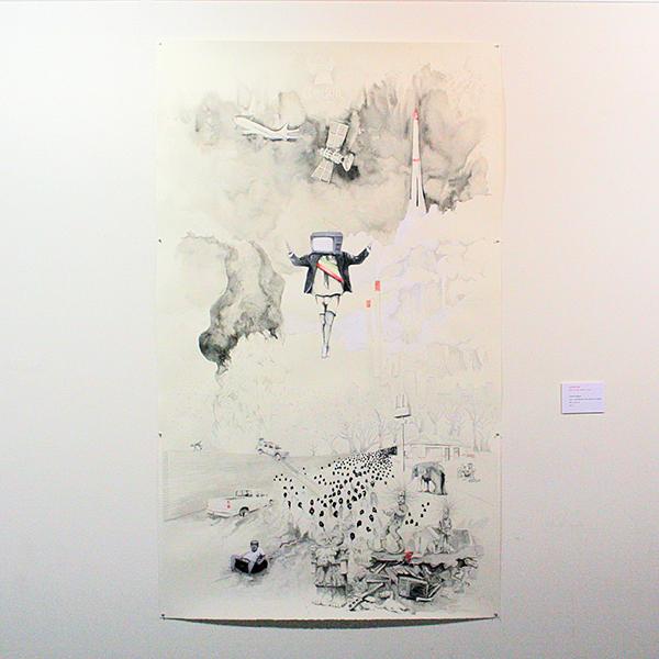 Rodrigo Imaz - Litoral Vertical - 200x122cm Acrylverf, Oostindische inkt en aquarel op papier