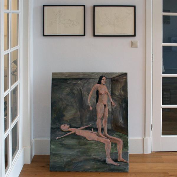 Roland Sohier - Carnal Knowledge - 100x80cm Olieverf op doek & Tif Moves #14 & Marielle Moves #8 - 30x42cm Potlood op papier