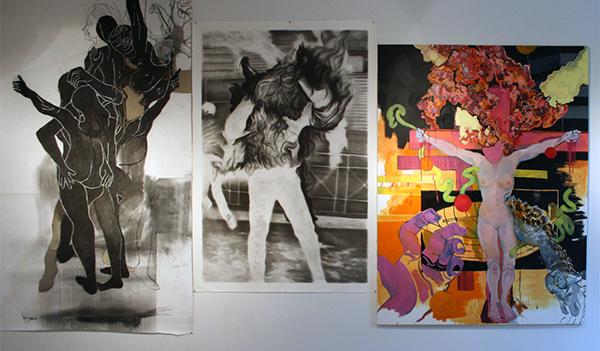 Roland Sohier - Drie Gratien - 241x151cm Houtskool, pastel en papiercollage & Ron Amir - Untitled - 192x135cm Houtskool op papier & Larissa van Zanen - A Night on the Bare Mountain - 200x150cm Olieverf op canvas