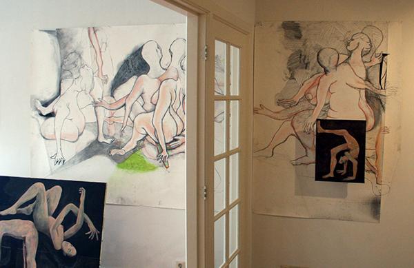 Roland Sohier - Grote tekening, Schilderijen installatie