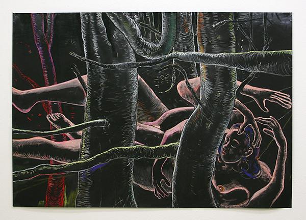 Roland Sohier - Sleeping Beauty #8 - 70x100cm Pastel en houtskool op zwart papier