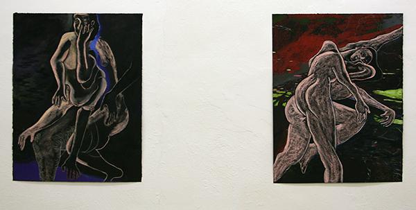 Roland Sohier - Zonder Titel (2110) & (2096) - 65x50cm Pastel op zwart papier