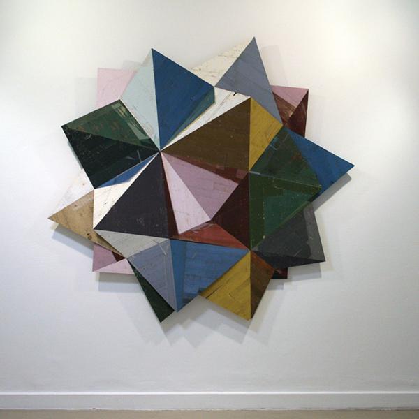Ron van der Ende - Wrangler (Compound of Five Octahedra) - 200x200x16cm Houtrelief