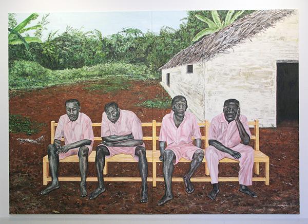 Ronald Ophuis - Gacaca, 4 Hutu Prisoners during their Trial, Rwanda 2004 - 300x400cm Olieverf op doek