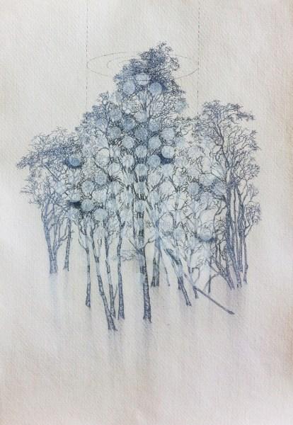 Sabine Liedtke - Birke - 30x42cm Potlood en acrylverf op papier, 2015