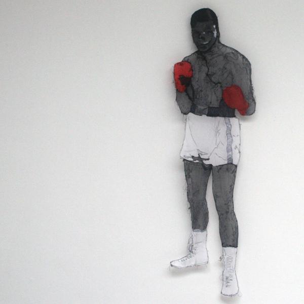 Saminte Ekeland - I AM THE GREATEST, 333! - 115x32cm Acrylverf, garen, plastic en panty's