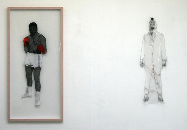 Saminte Ekeland - I am the greatest 333 - 158x75cm & Ich ich - 120x39cm Borduursel met polyesther, acryl, nylon, garen en panty's.