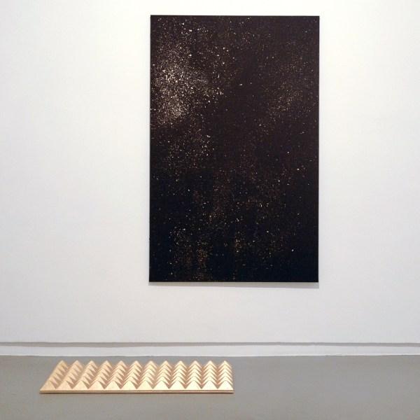 Sarah van Sonsbeeck - Mistakes I've Made - 120x190cm & 60x120cm Bladgoud op faradayverf op doek en akoustisch paneel met bladgoud