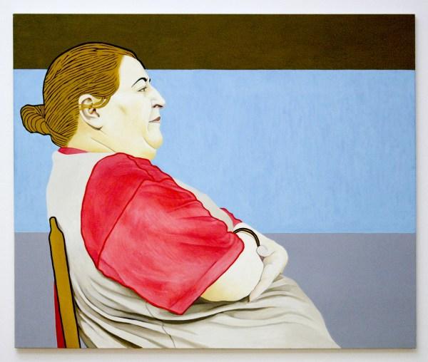 Sidi El Karchi - Blue Window, Portret van Azza El Karchi - Olieverf op doek