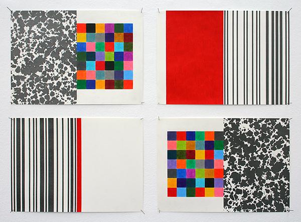 Stephan van den Burg - Spreads - 4 maal 24x32cm Potlood op papier