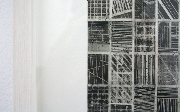 Stephan van den Burg -  Zonder Titel (flat grid 5) - 40x40cm Potlood en tape op papier (detail)
