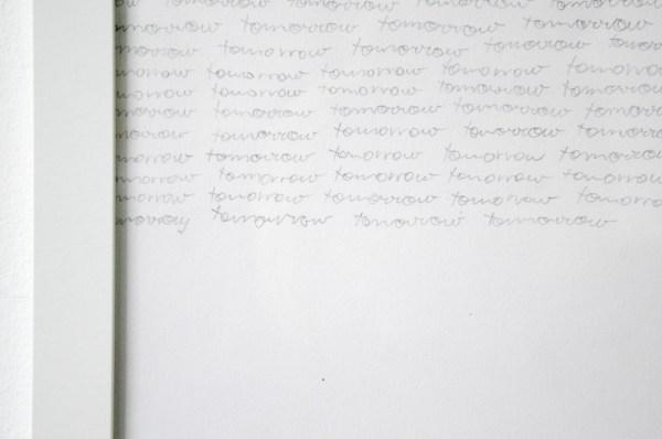 Sven Sachsalber - Write Until Tomorrow - 29x21cm 31 handgeschreven pagina's tekst met potlood (detail)