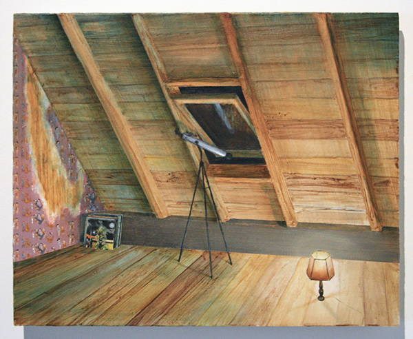 Thijs Jansen - Zolderkamer - 30x40cm Olieverf en acrylverf op paneel