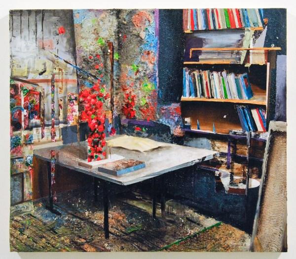 Tjebbe Beekman - Peggy Franck Studio - 73x64cm Acrylverf, zand en enamel op canvas op paneel