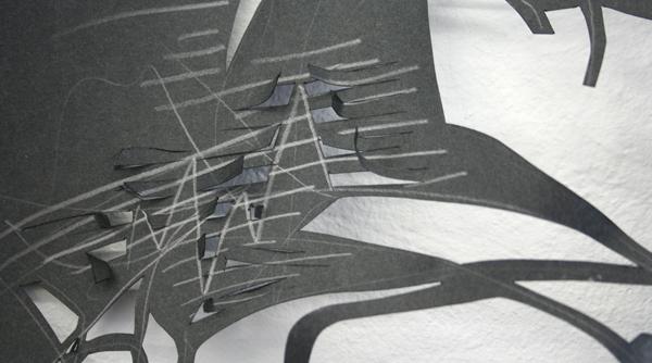Ulrike Rehm - Explosie - 220x150cm Zwart papier (detail)
