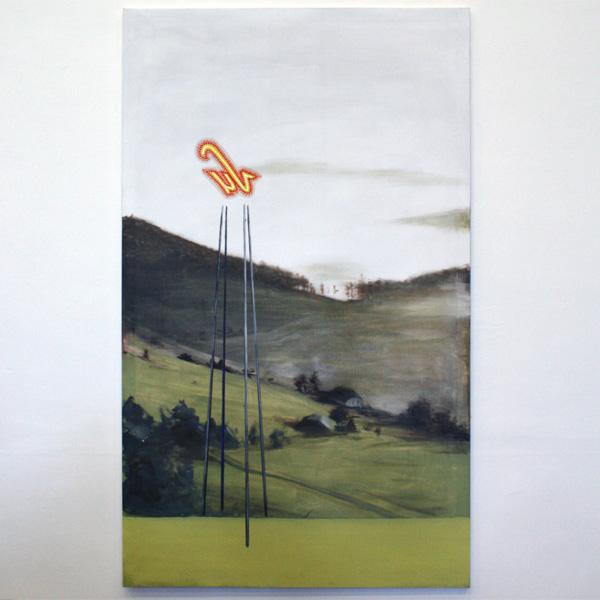 Vincent Dams - Nonkel Albert's afgekeurde schwarzwalderkirscheplan - 200x120cm Olieverf op doek