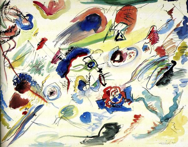 Wassily Kandinsky - Zonder Titel (Eerste abstracte aquarel) - 50x65cm Waterverf en potlood op papier