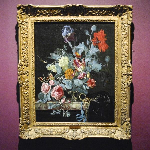 Willem van Aelst (kopie naar) - Bloemstilleven met horloge - Olieverf op doek