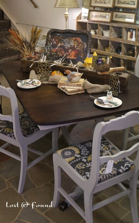 French Linen Chalk Paint Duncan Phyfe Dining Set