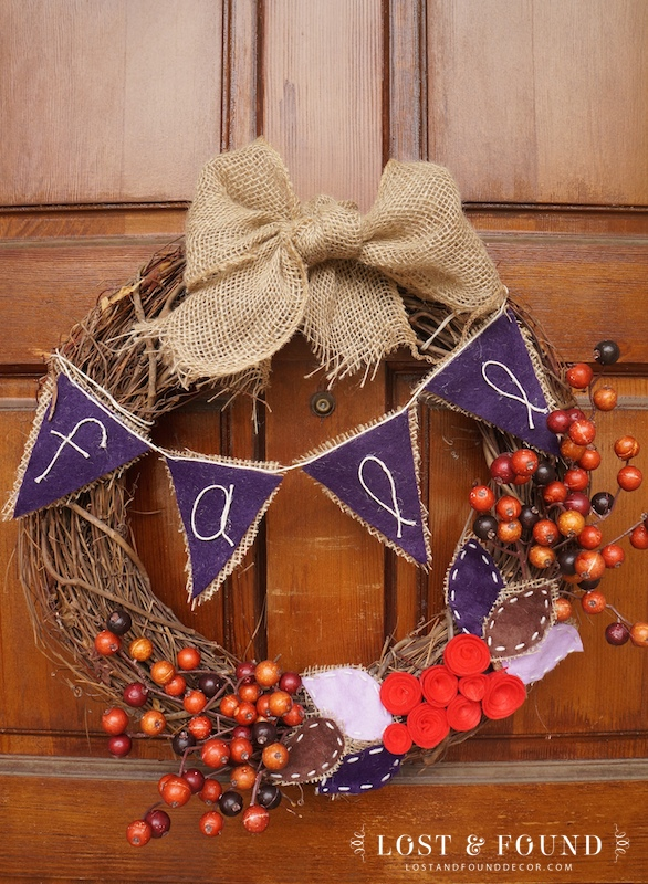 Fall Wreath with berries and fabric roses