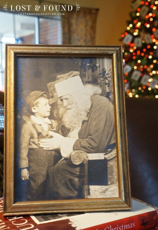 Old Photo of Little Boy with Santa 1950's