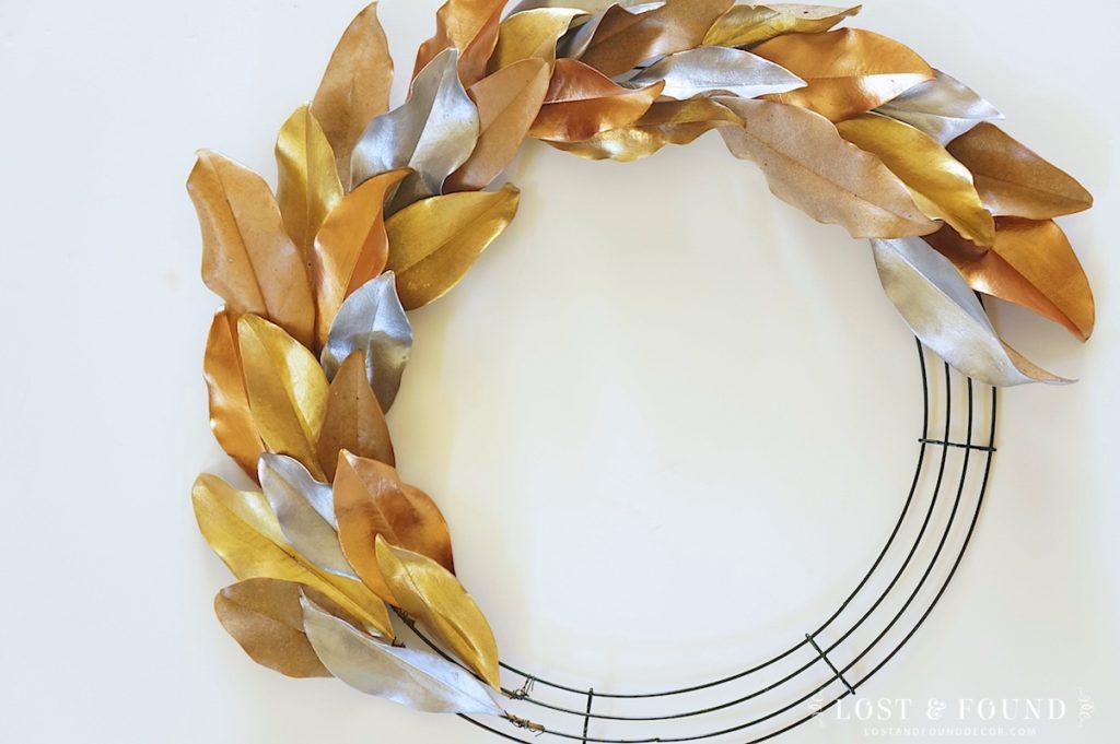 diy metallic leaf magnolia wreath